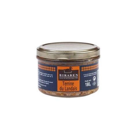 Terrine du Landais 20% Foie gras de canard, bocal 180grs (Biraben, France)