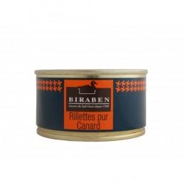 Rillettes pur canard, boite 130grs (Biraben,France)