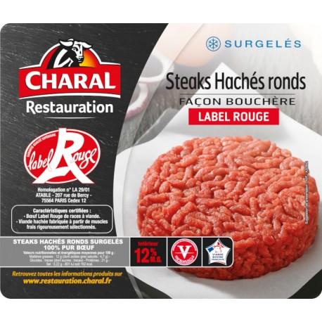 Steacks Hachés LABEL ROUGE  Charal surgelés façon bouchère, pur boeuf 15% MG   (France)
